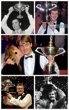 My last pin caused some debate about the viability of cufflinks in snooker. With help, I ended up with a collection of World Champions wearing them. :-) From the top: Ray Reardon, Steve Davis, Stephen Hendry, Shaun Murphy and Cliff Thorburn.