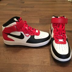 finest selection ef0aa 8e9d0 Nike High Top Authentic, Red, black, and white Nike ID Air Force 1