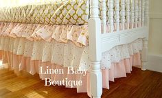 Hey, I found this really awesome Etsy listing at https://www.etsy.com/listing/223282366/pink-and-gold-bumperless-baby-bedding