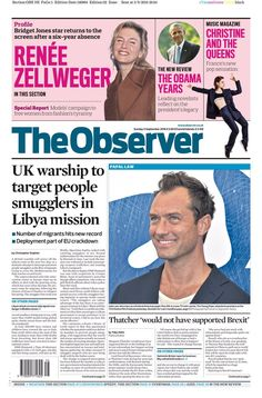 """""""Observer front page: UK warship to target people smugglers in Libya mission Secret Meeting, Rochdale, Bridget Jones, Jude Law, Music Magazines, At A Glance, News Online, Bbc News, Satire"""