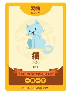 A Chinese Word A Day - 猫 Cat #chinese #education #children #language #asian