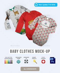 Baby Clothes Mock-Up  #mock-up #mockup #modern • Available here → http://graphicriver.net/item/baby-clothes-mockup/4474497?s_rank=27&ref=pxcr