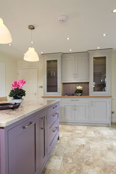 Here is a shot down the other end of the kitchen on our Handmade In Frame Shaker Kitchen in Blackened project. You can see the front of the island unit painted in F Brassica and the bespoke dresser unit which is painted in Pavilion Gray with a solid oak worktop. www.waringsathome.co.uk
