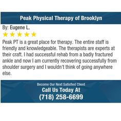 Peak PT is a great place for therapy.  The entire staff is friendly and knowledgeable. ...