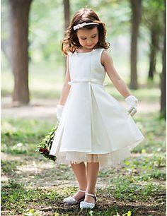 Szűk szabású Térdig érő Virágoslány ruha - Selyem Nyakpánt val vel