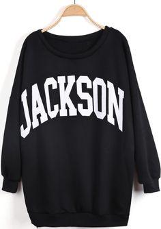 Black Long Sleeve JACKSON Print Loose Sweatshirt US$22.79