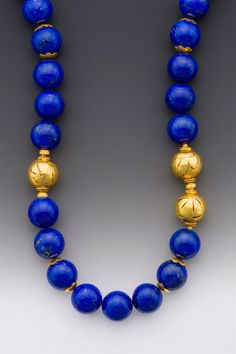 Rhapsody: A necklace of Afghani lapis beads with three offset beads flanked by accents with diamond rondelles. Bold Jewelry, Tribal Jewelry, Beaded Jewelry, Fine Jewelry, Handmade Jewelry, Beaded Necklace, Jewelry Design, Jewelry Making, Jewelry Necklaces