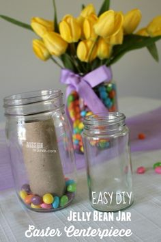 take a look at this super easy Jelly Bean Jar DIY Easter Centerpiece. Your Easter table decorations are set. The secret is in using a repurposed jar and a toilet paper tube! I love recycling in DIY decor projects! Jelly Bean Jar, Jelly Beans, Easter Crafts, Holiday Crafts, Holiday Fun, Easter Ideas, Mason Jar Crafts, Mason Jar Diy, Easter Table Decorations