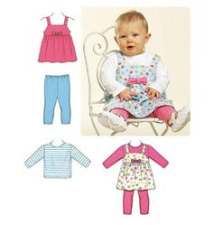 Kwik Sew Sewing Pattern Infants' Jumper, T-Shirt and Leggings Sewing Baby Clothes, Baby Sewing, Sew Baby, Kwik Sew Patterns, Clothing Patterns, Baby Leggings, Tops For Leggings, Baby Outfits, Serger Sewing