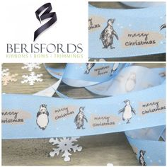 Get that winter feel with the Merry Christmas Penguin ribbon by Berisfords. Priced Per Metre Christmas Ribbon, Merry Christmas, Christmas Material, Penguins, Colours, Messages, Ribbons, Winter, Penguin