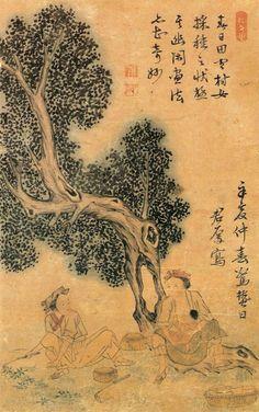 (Korea) 여인들의 나물캐기 by 마군후 (1750-? ).