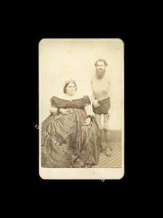 "quote:  Hard to find original carte de visite of John and Hannah Battersby, a married ""Living Skeleton"" and ""Fat Lady"" who performed for P.T. Barnum in the 1850s and 1860s.     Photographer's backmark of Bell, 1200 Chestnut Street, Philadelphia."