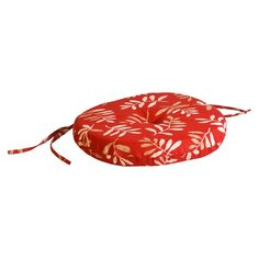 Outdoor Round Seat Pad/Dining/Bistro Cushion - Red/Tan Floral, 9607PK1-571E