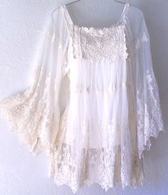 Ivory Crochet Lace Vintage Peasant Blouse Boho Shirt Top