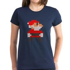 santa bros. dark womens t-shirt > $23.99US > babybitbyte (cafepress.com/babybitbyte) #nerd #geek #babybitbyte #cafepress #8bit #pixelart #pixel #pxl #nes #famicom #mario #mariobros #christmas #xmas #santa #santaclaus #hohoho #gamer #gamermom #gamerdad #retrogamer