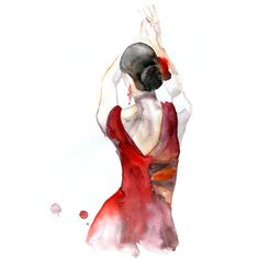 Original watercolor painting, red painting portrait, Flamenco Dancer painting, 13 x 19 by Elena Romanova from fairysomnia on Etsy. Art And Illustration, Watercolor Illustration, Watercolor Paintings, Matte Painting, Pop Art Wallpaper, Dance Paintings, Flamenco Dancers, Kunst Poster, Dance Art