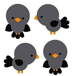 """Custom & Decorative {2"""" Inch} 4 Piece Pack of Mid-Size Stickers for Arts, Crafts & Scrapbooking w/ Multiples of Cute New Cartoon Chirping Baby Birds Style {Multicolor}"""
