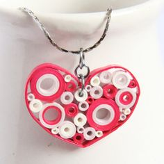 Pink Heart Pendant Retro Circles with Niobium ring OOAK. $25.00, via Etsy.