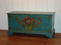 Dimensions: H 22 W D 20 Date / Circa: 1820 Maker / Origin: Albany Co., New York Medium: Pine Miscellaneous: **** Painted Trunk, Painted Chest, Painted Boxes, Hand Painted Furniture, Art Furniture, Upcycled Furniture, Furniture Makeover, Homemade Blankets, Shabby Chic