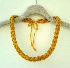 Items similar to Braided Knit Rope Necklace - Winter Accessory - Knitted Jewelry - Mustard Yellow on Etsy Knitted Necklace, Braided Necklace, Rope Necklace, Knit Or Crochet, Crochet Crafts, Fabric Jewelry, Wire Jewelry, Jewellery, Wire Wrapped Earrings