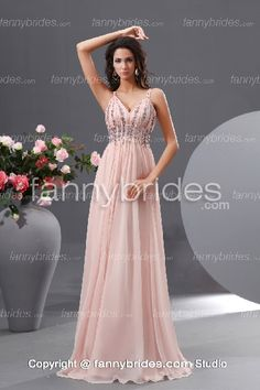 Pink V-neck Beading Chiffon Lovely Evening Dress - Fannybrides.com Quinceanera Dresses, Wedding Party Dresses, Prom Dress 2013, Homecoming Dresses, Ruffle Beading, Chiffon Gown, Beautiful Gowns, Special Occasion Dresses, Bridesmaid Dress