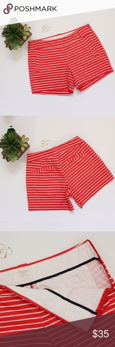 "✨HP 7/6✨ Red & White Rope Striped J. Crew Shorts Inseam: approx. 4.75"" Length: approx. 12.25"" Waist: approx. 14.5""  These classy J. Crew Factory shorts are perfect for summer! The white rope stripes give these shorts a cool nautical feel to change up your our outfit! Faux pockets, zippers up on the left side with hook and eye clasp at top of zipper. In great, like new condition. No holes, stains or imperfections.  Bundles welcome Offers welcome through offer button. ❌NO trades, please…"