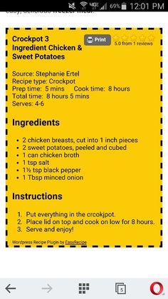 Chicken sweet potatos crockpot