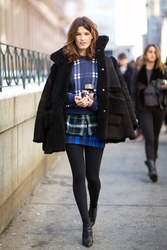 New York Fashion Week F/W 2014 #plaid #streetstyle #trending