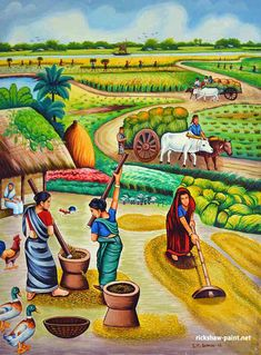 Village 2 Rickshaw Art is part of Indian art paintings A Bangladeshi art of rickshaw and film banner You can know about our collection, like Film Scene, interesting Bangladeshi art, village Scene, - Village Scene Drawing, Art Village, Indian Village, Indian Drawing, Village Photography, Foto Gif, Indian Folk Art, Indian Artist, Indian Art Paintings