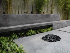 Modern Concrete Patio, Bench and Planters by Throwing Rock Studio Concrete Patios, Concrete Garden Bench, Poured Concrete Patio, Concrete Fire Pits, Patio Bench, Patio Wall, Cement Planters, Concrete Furniture, Concrete Walls