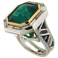 Rare 14.69 Carat Emerald Diamond Gold Ring with Triangle Sapphires