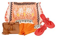 """""""vibrant colors"""" by pocketfullofglitter ❤ liked on Polyvore featuring Temperley London, Tory Burch, Kate Spade, red, orange and vibrant"""