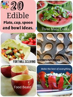 Edible Plate, Cup, Spoon and Bowl Ideas. Cute Food, Good Food, Yummy Food, Healthy Snacks, Healthy Eating, Healthy Recipes, Antipasto, Edible Cups, Catering