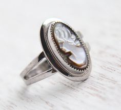 Vintage Sterling Silver Cameo Ring - Signed Sarah Coventry Victorian Revival Size 7 Carved Mother of Pearl Abalone Jewelry / Lady Coventry by Maejean Vintage on Etsy, $32.00
