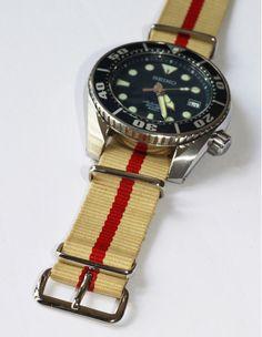 Bracelet NATO 18 mm coloris CREME/ROUGE - HPA-Shop.com