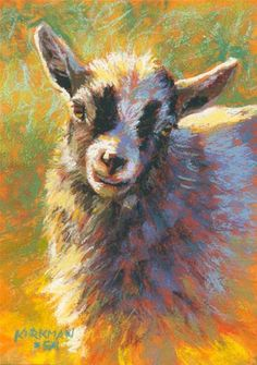 """""""Gracie"""" (pastel, 7x5 inches)  One of the young cuties from a friend's adorable herd of Pygmy goats!  I like how the warm light bouncing up from the ground lends to the 'vignette' feeling in this little portrait. Farm Paintings, Animal Paintings, Animal Drawings, Pastel Paintings, Landscape Paintings, Goat Picture, Art Pastel, Goat Art, Fine Art Auctions"""