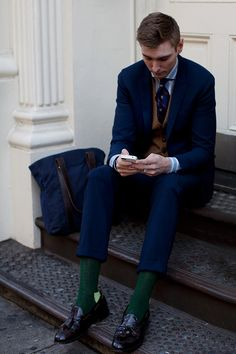 Young Executive in Blue Suit, Green Socks & Matchy Tote