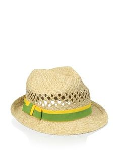 Il Cappellaio Women's Johnny Cutout Fedora (Yellow/Army)
