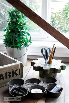Muffin tin office organizer and gear pencil older / How to stencil... featuring a pallet wood crate, using Funky Junk's Old Sign Stencils.: