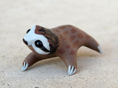 Miniature Polymer Clay Figures | Tiny sloth - Handmade miniature polymer clay animal figure