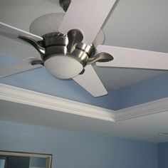 Tray ceilings can add elegance to rooms. Tray ceilings are easy to build using prefabricated wood trusses. This tray ceiling has crown molding and rope lighting. Oak Kitchen Cabinets, Wood Cabinets, Wood Truss, Accent Lighting, Ceiling Fan, Ceiling Ideas, Game Room, Design Elements, Paint Colors
