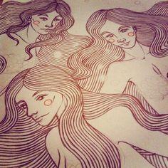 #wip #mermaids #women #girls #ocean #sea #water #bubbles #graphical #fantasy #mistery #illustration #art #drawing
