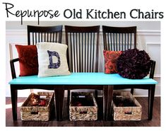 Interesting--can't decide how I feel about this...but def love it from the blue cushion down. Repurpose Old Kitchen Chairs