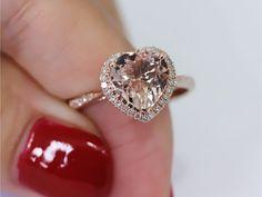14K Rose Gold 8mm Heart Cut Morganite Ring SI/H Diamond Pink Morganite Ring Wedding Band   Ring Engagement Ring