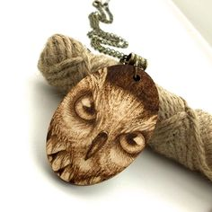 I see you, pyrography owl pendant. Wooden Necklace with owl's eyes. £22.95