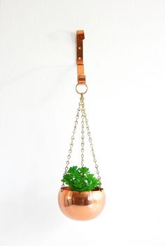 Vintage Copper Hanging Planter with Wall Bracket / Mid Century Coppercraft Guild Planter
