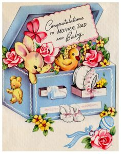 Baby On Pinterest Baby Cards Vintage Greeting Cards And