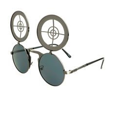 #steampunk #fashion #retro #vintage #flip #up #lens #gun #metal #round #sunglasses #keyhole