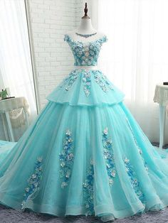 2018 Chic A-line Scoop Prom Dresses With Applique Blue Long Prom Dress Ball Gowns Evening Dresses from SexyPromDress A Line Prom Dresses, Ball Gown Dresses, Cute Dresses, Formal Dresses, Dress Prom, Party Dresses, Long Dresses, Dress Wedding, Dress Long