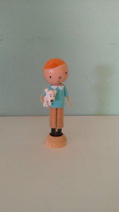 Tin Tin and Snowy clothespin figure